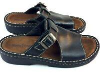 Minnetonka Womens Sandals Size 7 Buckle Platform Black Leather Footbed Slides