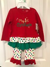 BABY ESSENTIALS Infant Girl 18M MY FIRST CHRISTMAS Polka Dot 2-Piece NWT
