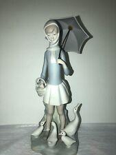 "Lladro ""Girl With Umbrella� Feeding Ducks #4510 Matte Finish"