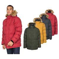 Trespass Baldwin Men Waterproof Parka Jacket with Hood in Black Green & Yellow