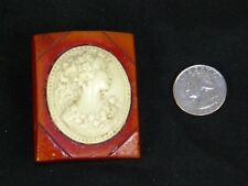 Red BAKELITE Vintage Jewelry CAMEO BROOCH Pin Celluloid Large 58 x 47 mm