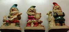 Vintage Homco Musical Set of 3 Elves Gnomes #5201 Delightful