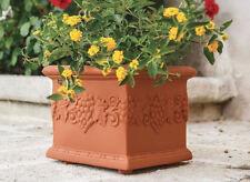 Vaso Quadrato decorato festonato Uva 35x35xh 29 cm in Resina da esterno giardino