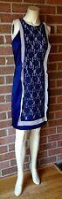 Twelve By Twelve Los Angeles Lace & Satin Sheath Dress Navy Blue Day to Night L
