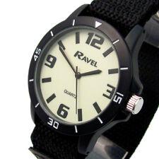 Ravel Gents Easy-Read Black Watch Glow Dial Sports Rip Strap 1722.1