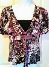 K.I. women's 14/16 top short sleeves V neck purple &  black print silver sparkle