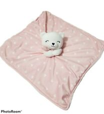 Carters Lovey Plush Pink Heart White Bear Security Blanket Baby Just one You