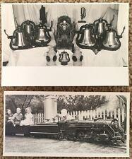 Two Photographs Miniature Model Railroad Train, Bells and Lanterns~108763