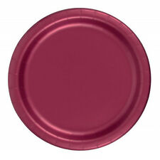 "24 Plates 6 7/8"" Paper Dessert Plates Wax Coated - Burgundy"