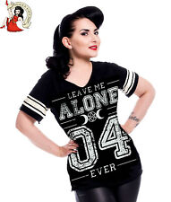 Heartless Leave Me Alone Varsity T-Shirt Black Tee Top Goth Alternative