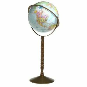 Replogle Treasury Globe Gyro-Matic Mounting Wooden Pedestal Stand Geography Gift