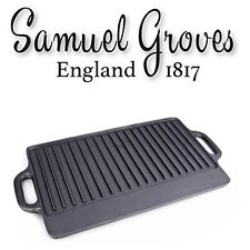 Cast Iron Griddle Tray Plate with Handles 42 cm Large Grill Pan Tray BBQ
