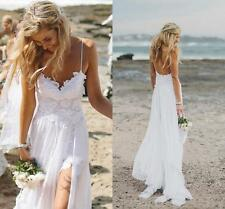 Summer High Slit White Ivory Lace Beach Wedding Dresses Bridal Gown 6 8 10 12+++