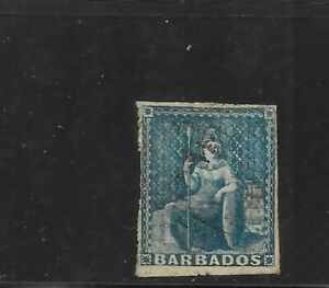 Barbados Scott #11 used 1p blue Britannia 1859 lightly canceled fine sound