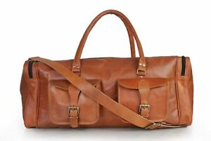 """Men's Genuine Leather New Brown Large Weekend Travel Luggage Duffle Gym Bag 30"""""""