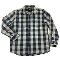 Vans Mens XL Gray Blue Checker Plaid Heavy Flannel Long Sleeve Button Up Shirt