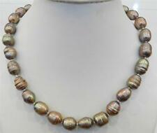 "10-11MM CHAMPAGNE NATURAL TAHITIAN PEARL NECKLACE 18"" AAA"