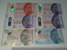 More details for stunning full set of bank of scotland polymer banknotes all first prefix all unc