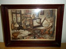 "Vintage Anton Pieck 3-D ""The Printers"" Art Framed Print"