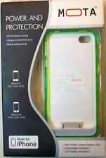 Mota iPhone 4 4s Battery Power Pack Phone Case Clear & Green Slim Profile New