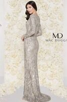 ✨ MAC DUGGAL Women's Beaded Long Sleeve Gown In Vintage Taupe Size 6 ✨