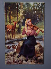 R&L Postcard: Lady Playing Violin, Deer, Artist T. Eyre, Carlton Publishing