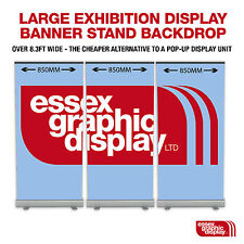 SET OF 3 850mm Banner stands Exhibition Display High end printing 1440dpi