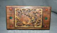 """11.2"""" Chinese Huanghuali Wood inlay Jade Dynasty Storage Container jewelry Box"""