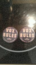 2X VOX RULES AMP BADGE/PIN/BUTTON AC-30 AC-15 SUPER BEATLE *[REPRODUCTIONS]*