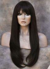 HUMAN HAIR Blend wig Heat Safe Long Straight Face Framing Dark Brown WBTO 4