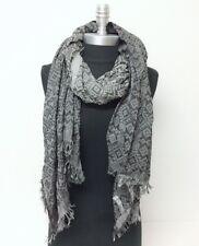 Men Women Yarn-dye deep-dye Long Scarf Wrap Shawl fringe Tassel Soft Gray Black