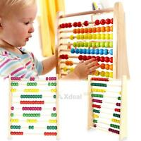 Wooden Abacus 10-row Colorful Beads Counting Kid Maths Learning Educational Toy