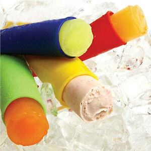 6Pcs Silicone Mold Ice Lolly Maker PushUp Smoothie Frozen Yogurt Popsicle Mould