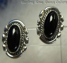 "NICE OVAL ONYX Sterling Silver 0.925 Estate 13/16"" HAND CRAFTED POST EARRINGS"