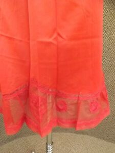 Luxurious Intimate Vtg 1960s Cherry Red Nylon Floral Lace Circle Half Slip Sz S
