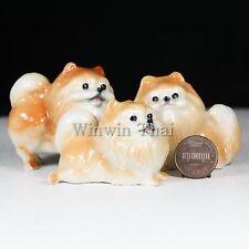 3 Pomeranian Set Ceramic Pottery Statue Animal Miniature Figurine