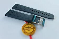 100% Genuine New OEM Breitling Black Diver Pro 3 Caoutchouc Rubber Strap 24-20mm