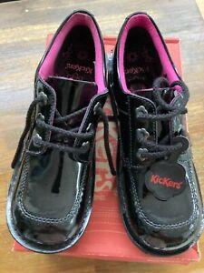 Kickers Kick Lo Core Black Patent Girls Lace Up School Shoes Uk Size 6/Eu 39
