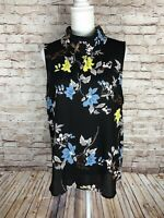 NEW! Apt. 9 Women's XL Draped Neck Sleeveless Blouse Yellow Blue Flowers Mock