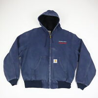 Carhartt Thermal Lined Hooded Jacket Faded Blue Canvas Telecom Workwear XL
