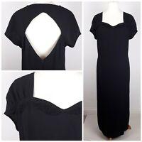 Ann Harvey Black Cocktail Dress Sweetheart Neckline/Open Back UK22 Made in UK