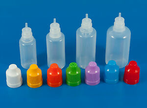10ml - 30ml Empty Natural Plastic Thin Tip Dropper Bottles Child Safety Cap