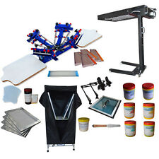 Newest Silk Screen Printing Kit4 Color Press With Exposure Unitampflash Dryer Usa