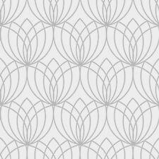 LOTO Papel Pintado Geométrico PLATA - Muriva 148501 metálico