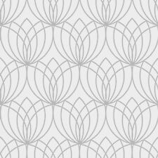 Lotus Geometric Wallpaper Silver - Muriva 148501 Metallic