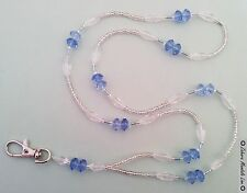 ID Badge Holder HANDMADE Silver Clear & Blue, Beaded Lanyard Fashion Necklace