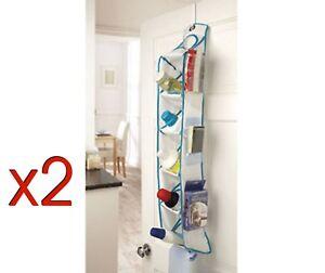 2 x Kleeneze Over Door Storage Shelves Bathroom/Kitchen/Toy Tidy 6 Pockets Slim