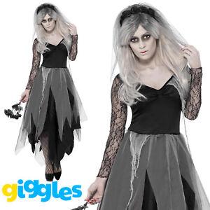 Zombie Graveyard Bride Costume Ghost Corpse Womens Halloween Plus Fancy Dress