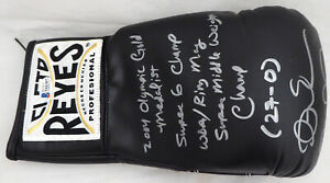 ANDRE WARD AUTOGRAPHED BLACK REYES BOXING GLOVE WITH STATS RH BECKETT 182282