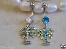 Cubic Zirconia Pave Gem Palm Tree Navel/Belly Ring.